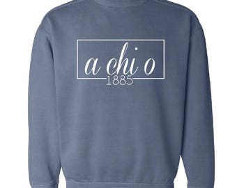 Alpha Chi Omega // A Chi O // Sorority Comfort Color Sweatshirt (Coneria) // Choose Your Color