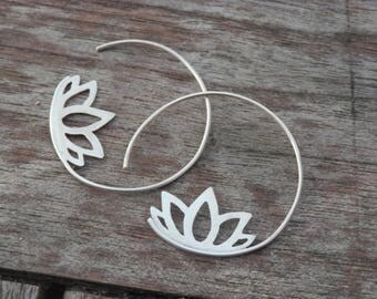 Creole Earrings  925 Silver Lotus Flower Design, Boho, Stylish, Handmade