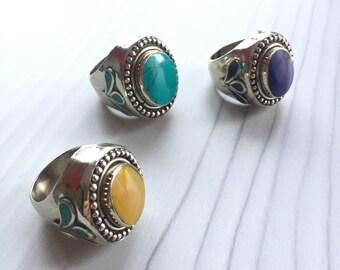 Big stone rings, big stone statement ring, chunky stone rings, modern stone rings, boho stone ring