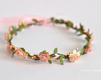 Peach flower crown - Peach flower headband - Orange flower crown - Floral halo Wedding flower crown - Flower girl halo - Peach orange boho