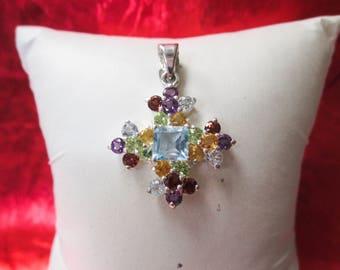 Sterling Silver Flower Cross Pendant w/ Amethyst, Garnet, Citrine, Peridot, and Blue Topaz Stones