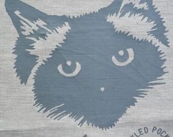 Linen Tea Towel Seal Point Birman Ragdoll Pickle Cat. Hand Printed Limited Edition. Oatmeal 3.