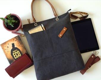 Grey bag,Tote bag,Messenger bag, Canvas bag, Canvas tote bag, Bag with pockets,School bag,Shoulder bag,brown bag,Woman bag,City bag