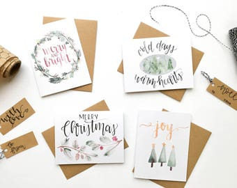 Pack of 8 - Hand Lettered Christmas Cards