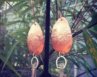 Copper and crystal earrings