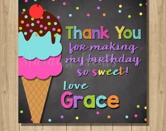 Ice cream Favor Tags, Ice cream Printable Favor Tags, Ice cream Thank You Tags, Ice cream Favors