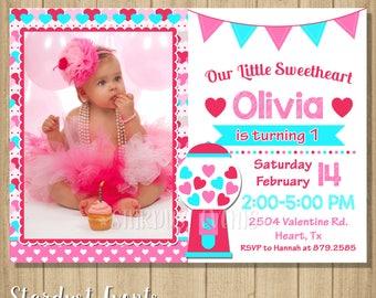 Valentine birthday invitation, Valentines invitation, Sweetheart Invitation, Valentines photo birthday invitation