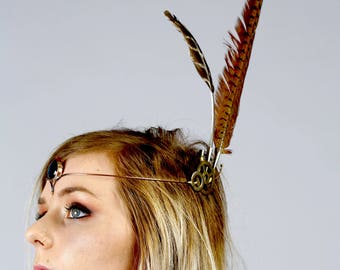Spectacular semi precious stone tiara, Festival head wear, Feather accessories, pixie wear, forest nymph, tribal wear,party wear,Burning man
