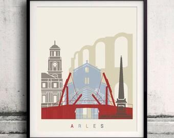 Arles skyline poster - Fine Art Print Landmarks skyline Poster Gift Illustration Artistic Colorful Landmarks - SKU 2390