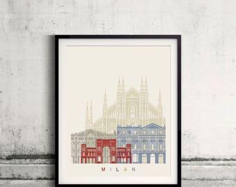 Milan V2 skyline poster - Fine Art Print Landmarks skyline Poster Gift Illustration Artistic Colorful Landmarks - SKU 2508