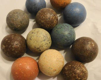 Set of 12 pre civil war marbles uncovered when Olympic stadium was built in Atlanta. Multicolored clay marbles exciting find in N GA MTNS.