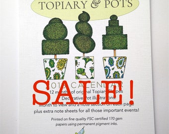 2018 Wall Calendar, UK Holidays, Topiary & Pots Design, SALE!