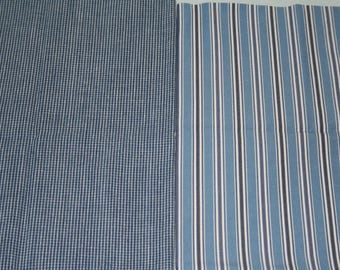 Fat Quarter Bundle, Blue Plaid and Stripes, 100% Cotton Fabric, Two Fat Quarters, 18in x 22in; Quilting Fabric, Quilt Pieces, Fabric Destash