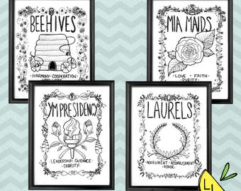 LDS Art, Young Women Groups, Black and White, Printable Art, Bold Font, Hand drawn, Coloring Page, YW Posters, YW Book Covers, Lds yw,