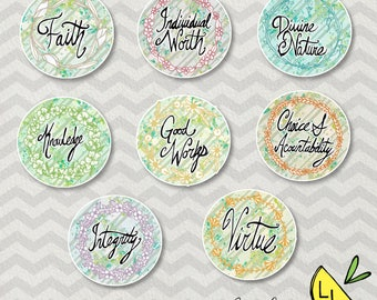 LDS Art, Young Women Values,Badge set, Pretty Textures,Printable Art, Handdrawn, YW Values,LDS Young Women,Printable Handouts,lds handouts,
