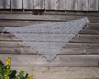 Gray shawl, moher shawl, gray lace shawl, knit shawl, triangular knit shawl, lace knitting