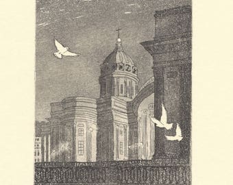 Kazan Cathedral. An Original Etching with Aquatint Print