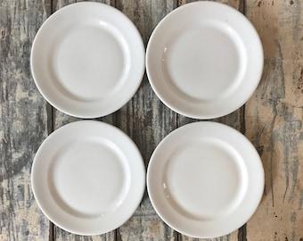 Set of 4 VINTAGE IRONSTONE PLATES • Vintage Shenango Dinner Plates • Shenango, P.A. Pottery • Excellent Farmhose Plates!