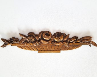 Antique art deco pediment Flowers in vase French bronze furniture hardware embellishment 1930s 15.43""