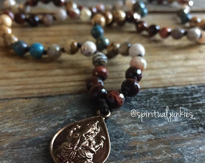 108 Bead Handknotted Spiritual Junkies Red Tigers Eye, Sunstone, Agate, Red, Picture, Calsilica Jasper + Ganesha / Om Yoga Mini Mala