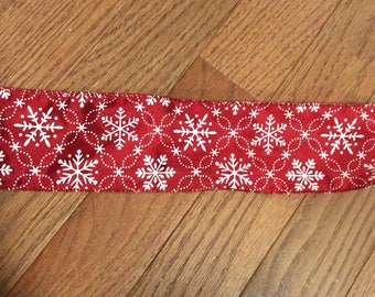 CLEARANCE -- Red White Snowflake Wire Edge Ribbon Merry Christmas Tree Holiday Bow