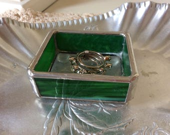 Stained Glass Ring Holder Small Green Tray Trinket Tray
