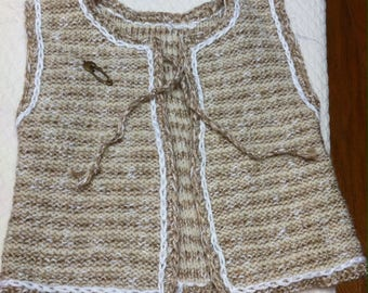 handknitted CARDI, cotton and linen 6-12 months