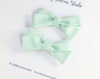 pigtail bows, fabric bow set,  girls hair bow set, baby bow headband, baby hair bow, green bow, schoolgirl bow, baby bow set, baby headband