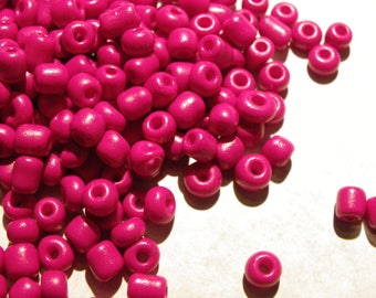 200 large 4 mm Burgundy fuschia glass seed beads