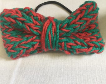 Handknit hair band with knitted bow
