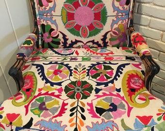 Bergere chair, suzani chair, bohemian chair, boho chair, french chair