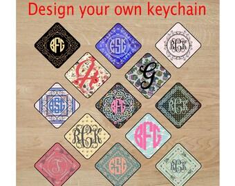 Custom keychain, monogram keychain, acrylic keychain, personalized keyfob, custom key fob, keyring, diamond key holder, birthday friend gift