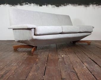 Vtg Mid Century Rare Reupholstered Toothill Floating Sofa Danish Design Teak
