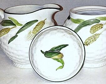 Mikasa Sugar Creamer Set in Green and White Golden Harvest Pattern ED003