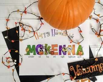 One Name Halloween Alphabet Print