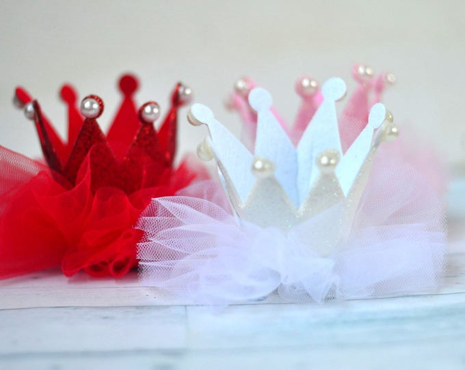 crown hair clip birthday girl crown hair barrette glitter crown clip baby pink crown white crown birthday tiara red crown princess hair clip