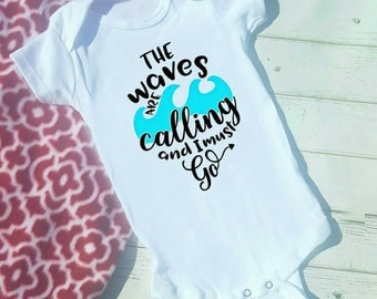 The Waves are calling and I must Go! Beach Shirt Bodysuit or Tshirt infant thru adult, Hip Kids Shirts, Summertime  Vacation Shirts, Water