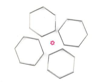 x 10 connector silver hexagonal ring 20mm (62D)