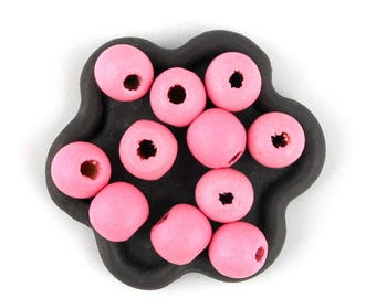 x 50 Perle wooden pink bright 10mm