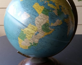 """Vintage 1940s Replogle 8"""" World Globe - Metal Globe & Base - Excellent Condition - 11"""" Total Height"""