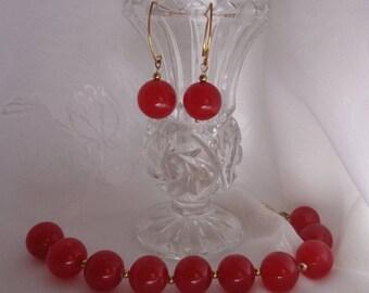 Valentine's Jewelry Set- Beautiful Red Jade Set- Holiday- Jade Bracelet - Jade Earrings- Red Gemstone- Gift- Jade Earrings & Bracelet