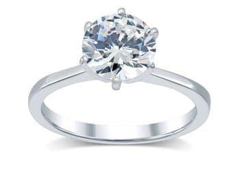 Diamond Engagement Ring 2 Ct- Minimalist Solitaire Diamond Ring 14K Gold- Tapered Band Solitaire Engagement Ring; Round True Diamond D/ SI2
