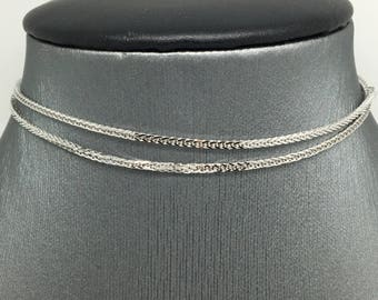 18K White Gold Foxtail Chain ~1.10mm