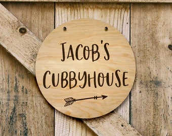 Personalised wooden cubbyhouse sign. Perfect timber children's gift / birthday present