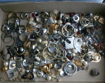 Large Collection of Vintage Costume Jewelry Earrings