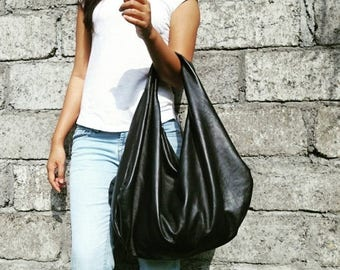 SUMMER SALE BLACK - Large hobo Bag, black soft leather hobo bag, leather hobo bag, hobo bag large, black leather bag, hobo bag black, genuin