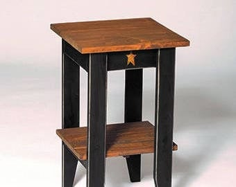 Rustic Primitive Pine Wood Square End/Side Table with Shelf - Amish Made in the USA - Model# OHL-03SET - Free Shipping!