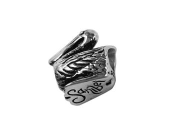 Sanibel Island 3D Pelican Large Hole Sterling Silver Bead - Compatible with ALL Popular Bracelet Brands - Made in the USA! - Item #13956