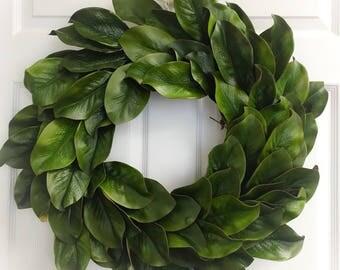 Magnolia Wreath, Magnolia Leaf Wreath, Farmhouse Wreath, Fixer Upper Wreath