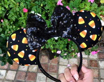 Black Candy Corn Halloween Mouse Ears